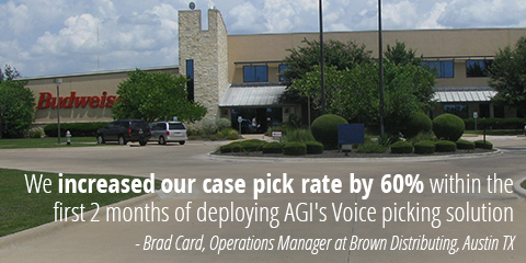 AGI's Voice Directed Picking almost doubled our case pick rate in under a month - Rick Donnelly, Warehouse Supervisor